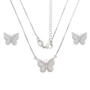 Imagem de Conjunto borboleta pedras zircônia - 1100502*