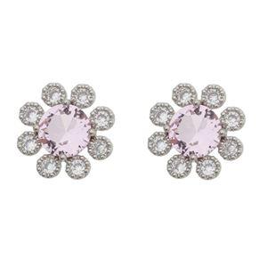 Imagem de Brinco flor rosa com zircônia - 0520084*