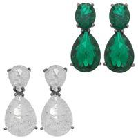 Imagem de Brinco com pedra zircônia fusion - 0520184# Verde e Branco