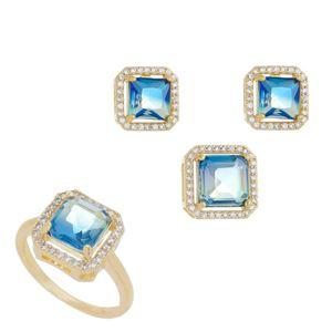 Imagem de Conjunto pedra carrê bicolor azul - 1100514