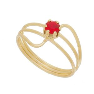 Imagem de Anel fios e pedra strass vermelho - 0106064
