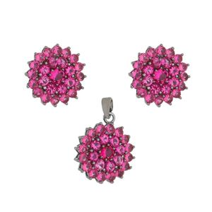 Imagem de Conjunto fixo flor pedras zircônia - 1100543#