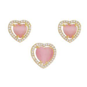 Imagem de Conjunto coração pedra calcedônia rosa - 1100554