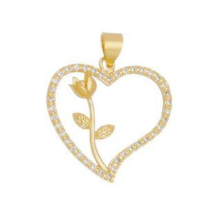 Imagem de Pingente coração com flor pedras zircônia - 0206230