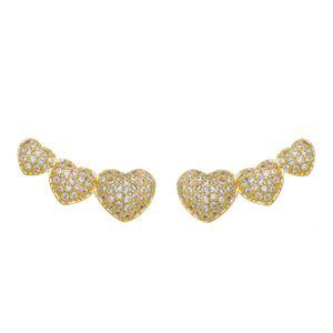 Imagem de Brinco ear cuff corações com zircônia - 0520457