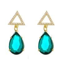 Imagem de Brinco gota verde e pedras zircônia - 0520538