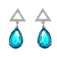 Imagem de Brinco gota azul e pedras zircônia - 0520537