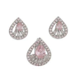 Imagem de Conjunto gota com pedras zircônia rosa - 1100571*