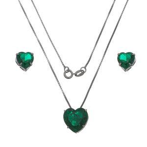 Imagem de Conjunto coração pedra fusion verde  - 1100577#