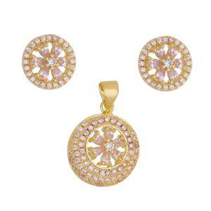 Imagem de Conjunto com pedras zircônia rosa  - 1100569