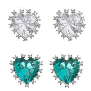 Imagem de Brinco coração pedra zircônia - 0520664* Várias Cores