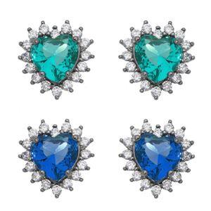 Imagem de Brinco coração pedras zircônia - 0520680# Várias Cores