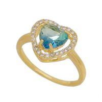 Imagem de Anel com pedra coração bicolor - 0106159