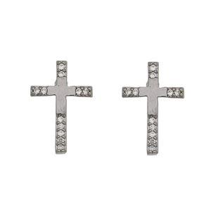 Imagem de Brinco cruz com pedras zircônia - 0520798#