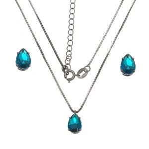 Imagem de Conjunto gota pedra zircônia azul - 1100605