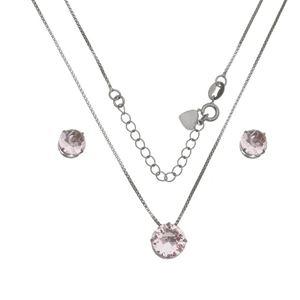 Imagem de Conjunto redondo pedra zircônia rosa - 1100604