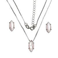 Imagem de Conjunto navete pedra natural rosa - 1100608
