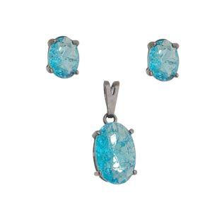 Imagem de Conjunto oval pedra fusion azul - 1100606