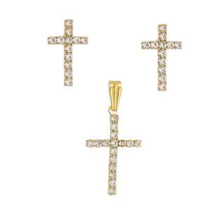 Imagem de Conjunto cruz pedra strass - 1100598