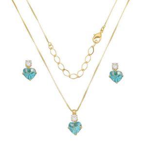 Imagem de Conjunto coração zircônia azul  - 1100588