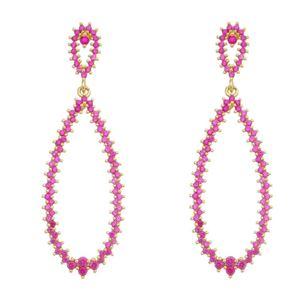 Imagem de Brinco gota com pedras zircônia pink - 0517565