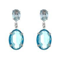 Imagem de Brinco oval com pedra cristal azul - 0520831*