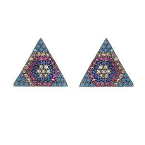 Imagem de Brinco triângulo pedras zircônia - 0521141#