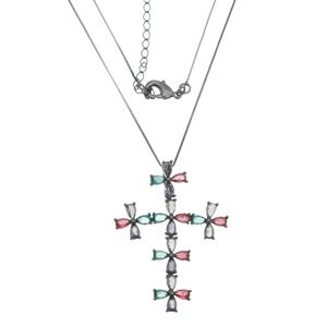 Imagem de Corrente cruz pedras zircônia - 0303823 Várias Cores