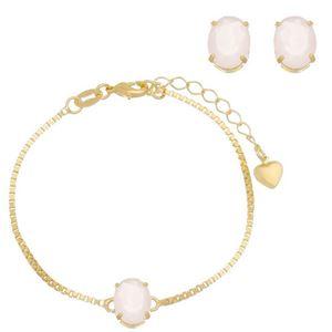 Imagem de Conjunto pedra natural rosa leitoso - 1100657
