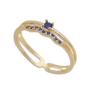 Imagem de Anel fios com pedras zircônia - 0106211 Azul
