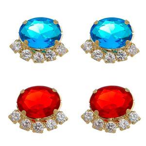 Imagem de Brinco oval pedras zircônia - 0521290 Cores