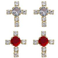 Imagem de Brinco cruz pedras zircônia - 0521291 Cores