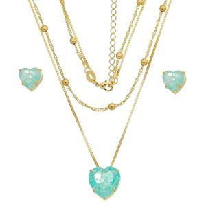 Imagem de Conjunto coração pedras fusion azul - 1100687