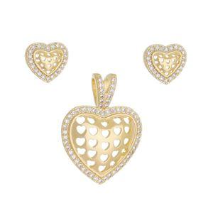 Imagem de Conjunto coração com pedras zircônia - 1100684