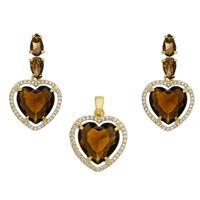 Imagem de Conjunto coração pedras natural marrom - 1100722