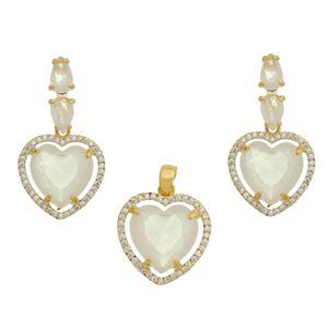 Imagem de Conjunto coração pedras natural branco - 1100721