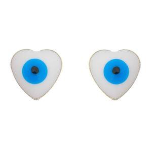 Imagem de Brinco coração olho grego; 8mm - 0521354