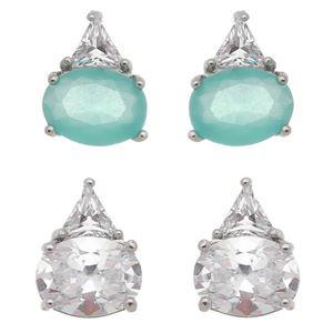 Imagem de Brinco oval com pedras zircônia - 0521486* Cores