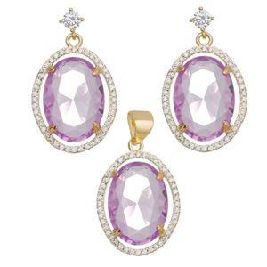 Imagem de Conjunto oval pedra natural rosa - 1100724