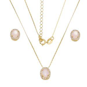 Imagem de Conjunto oval pedra natural rosa - 1100786