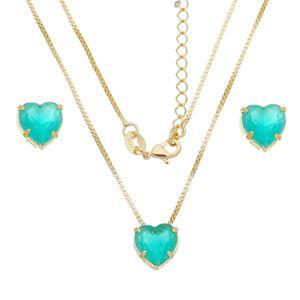 Imagem de Conjunto coração natural verde leitoso - 1100781