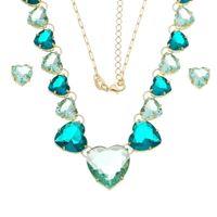 Imagem de Conjunto coração pedras natural verde - 1100810