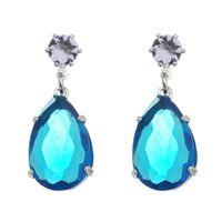 Imagem de Brinco gota com pedra azul - 0521637*