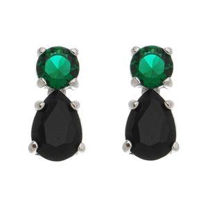 Imagem de Brinco gota preta com pedra verde - 0521650*