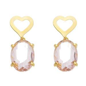 Imagem de Brinco coração e pedra oval - 0521570 Cores