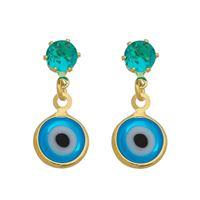 Imagem de Brinco olho grego e pedra verde - 0521571