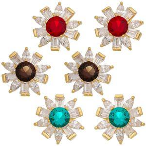 Imagem de Brinco flor com pedras zircônia - 0521834 Cores