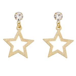Imagem de Brinco estrela diamantada e pedra strass - 0521777