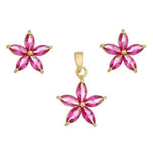 Imagem de Conjunto flor com pedras zircônia pink - 1100826
