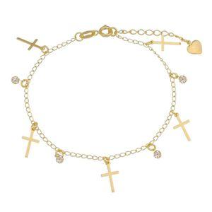 Imagem de Pulseira pingentes cruz e pedras strass - 0404919